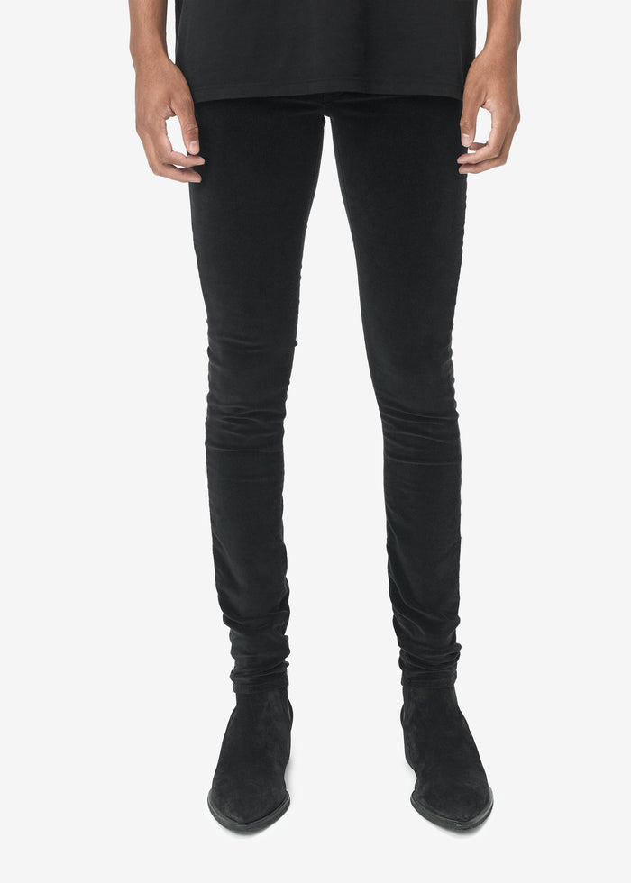 Velour Skinny Stack Pant - Black