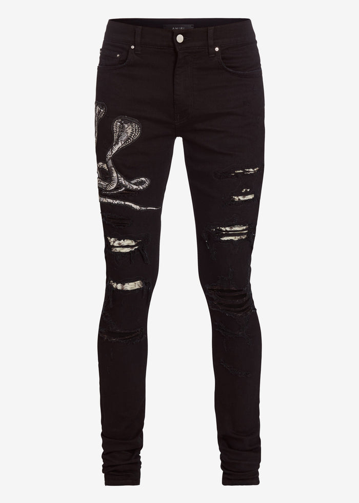 Snake Patch Jean - Black