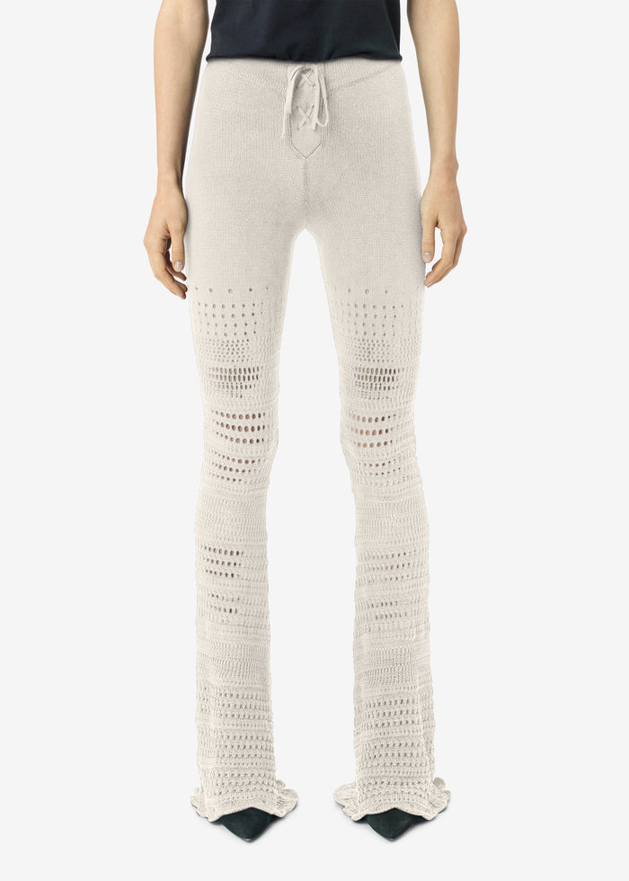 Checkered Crochet Flare Pants - Ivory