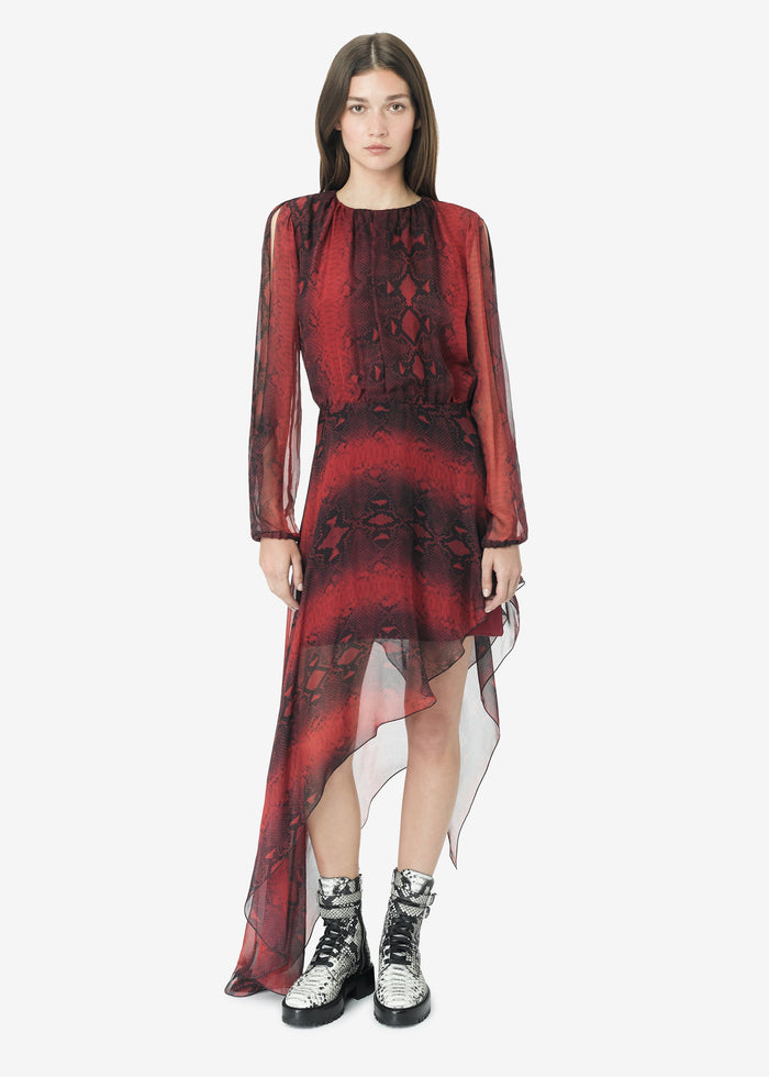 Printed Python Assymetric Long Sleeve Dress - Burgundy