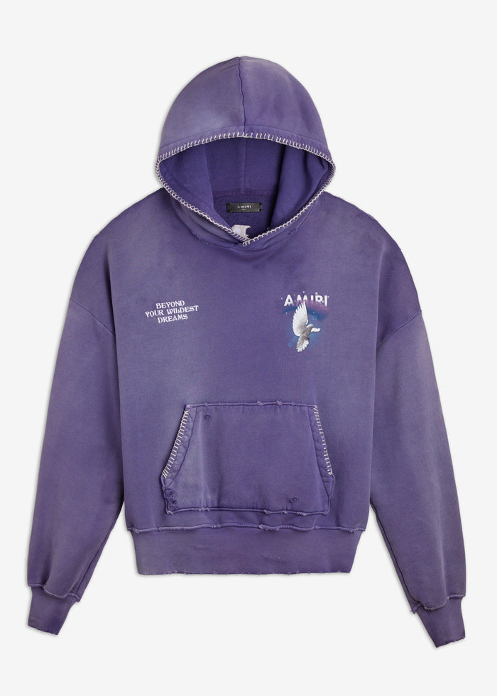 Oversized Eternal Dove Hoodie - Washed Eggplant