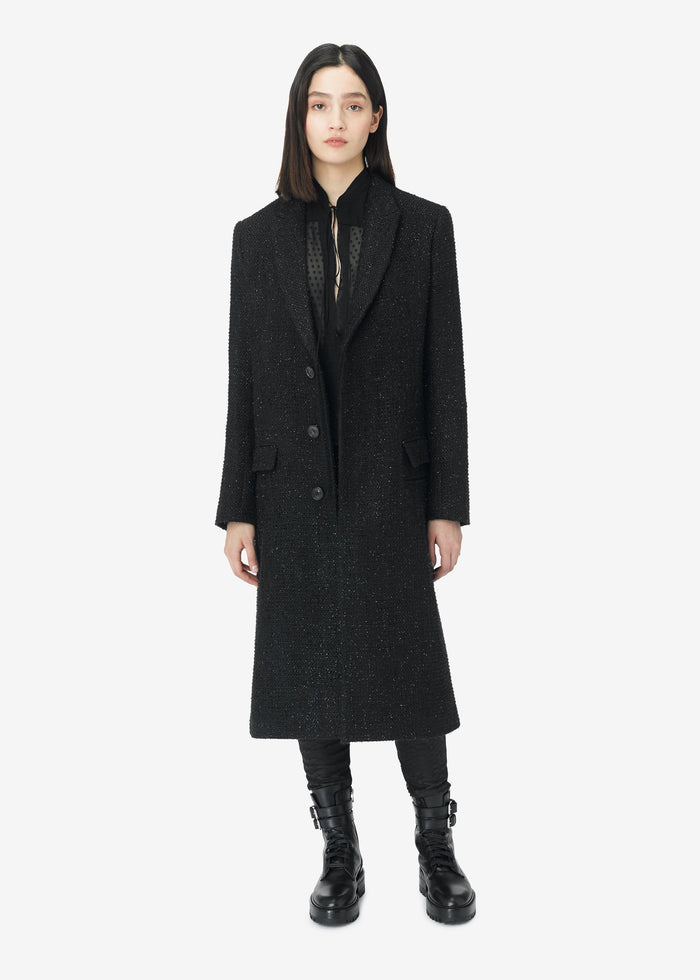 Boucle Fitted Coat - Black