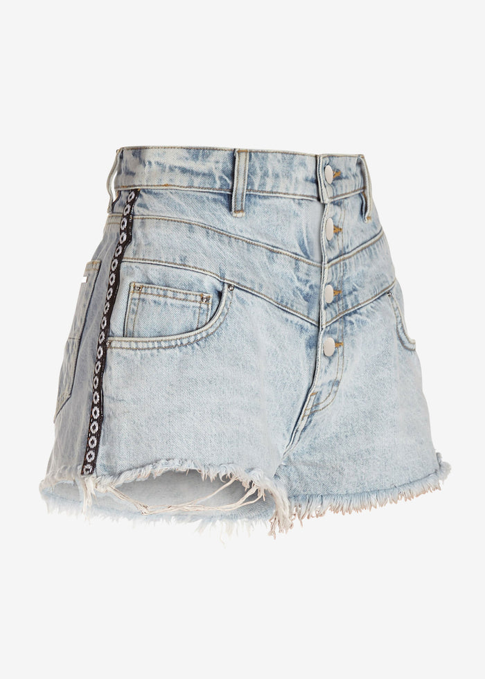 Denim High Waisted Track Short - Sky Indigo