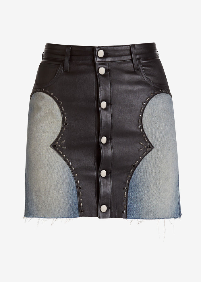 Western Denim Mix Mini Skirt - Black/Blue