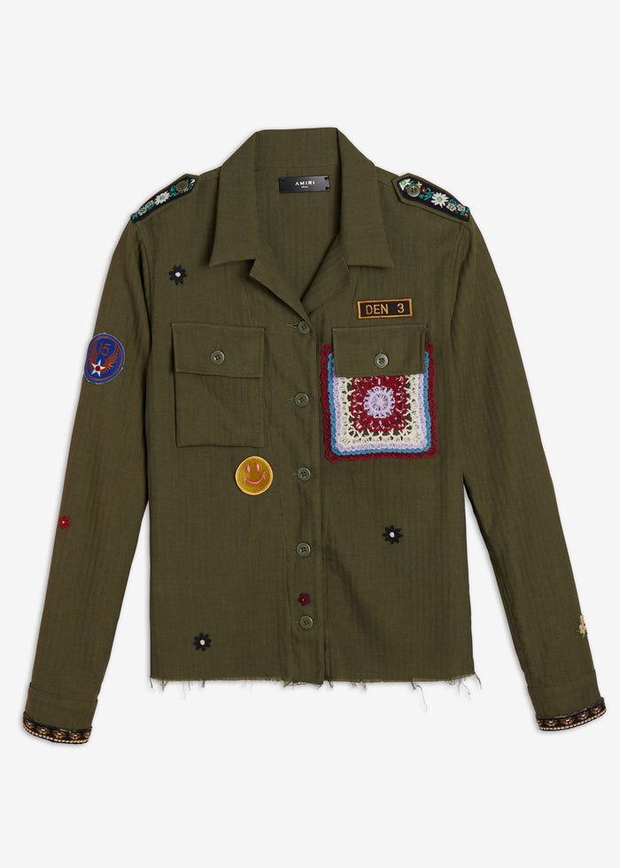 Crochet & Patch Military Shirt - Military Green