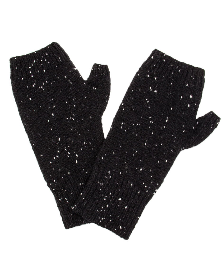 100% Cashmere Fingerless Gloves - Black Speckle