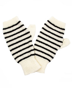 100% Cashmere Fingerless Gloves - BW Breton Stripe
