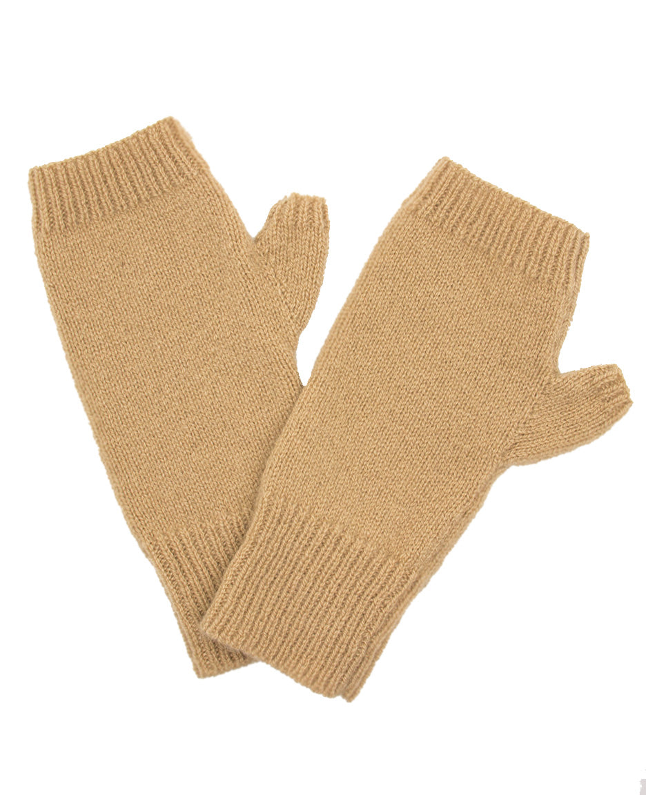100% Cashmere Fingerless Gloves - Camel