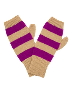 100% Cashmere Fingerless Gloves - Camel Stripe
