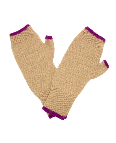 100% Cashmere Fingerless Gloves - Camel Tipped