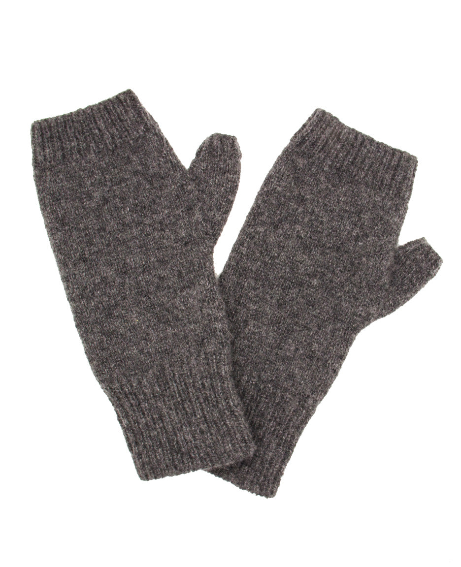 100% Cashmere Fingerless Gloves - Charcoal Heather
