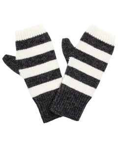 100% Cashmere Fingerless Gloves - Charcoal Stripe