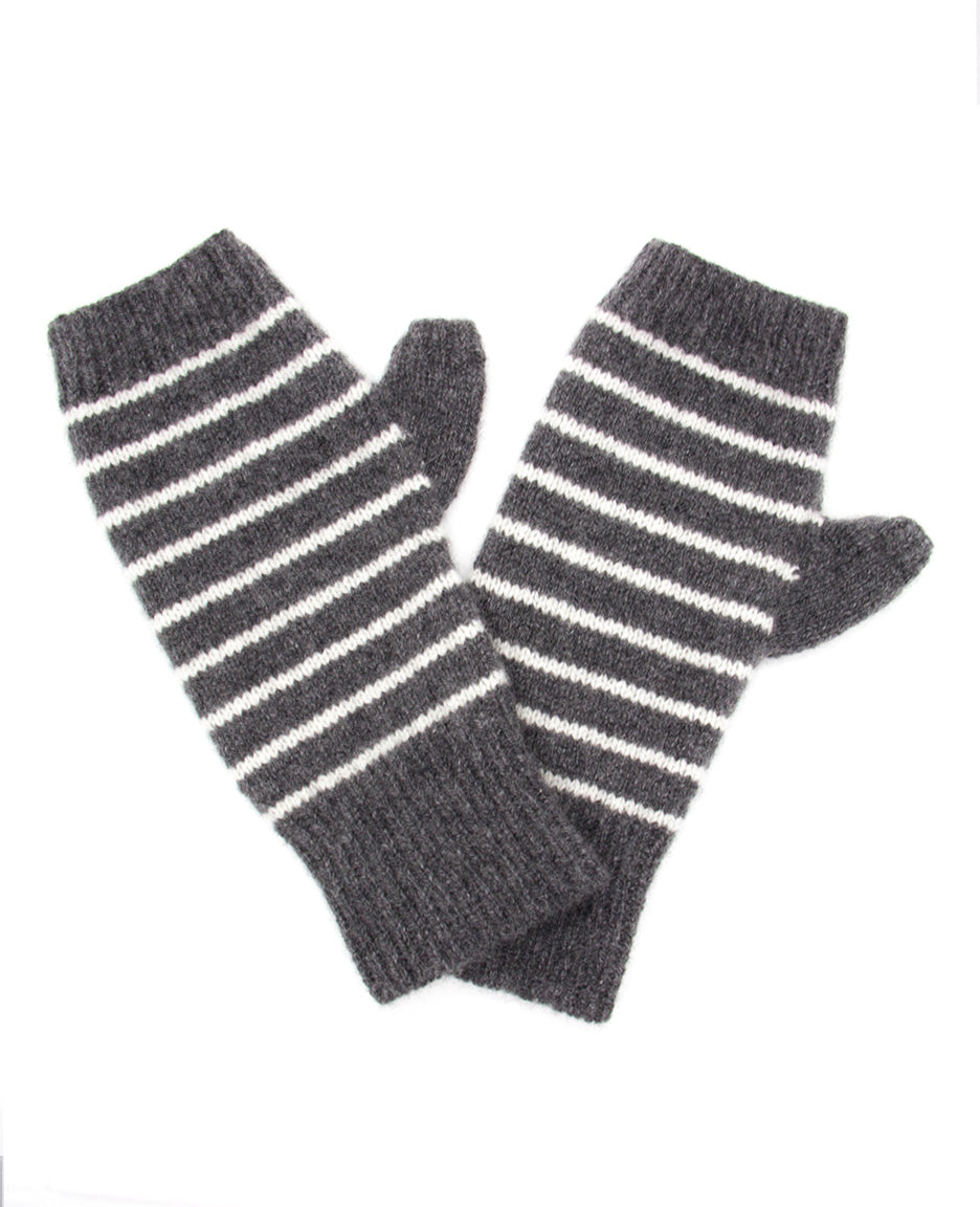 100% Cashmere Fingerless Gloves - Charcoal Variegated Stripe