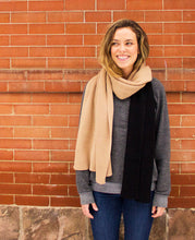 Load image into Gallery viewer, 100% Cashmere Colorblock Scarf - Camel Black
