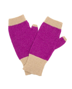 100% Cashmere Fingerless Gloves - Fuchsia Colorblock