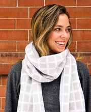 Load image into Gallery viewer, 100% Merino Grid Scarf - Machine Washable - Heather Gray