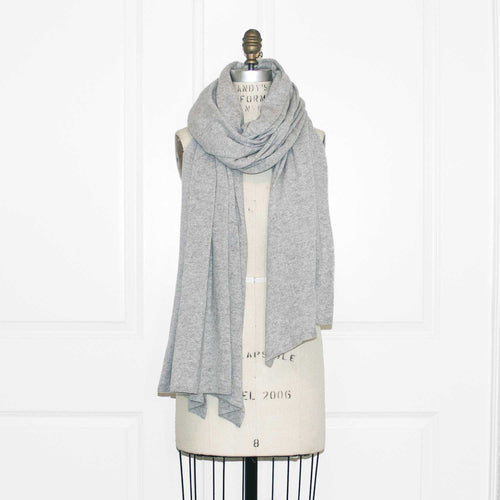 100% Cashmere Essential Wrap - Light Gray Heather - SOLD