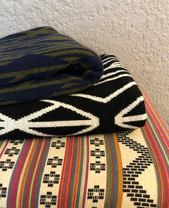 Alpaca/Highland Wool Graphic Patterned Blanket - Two Color Combos
