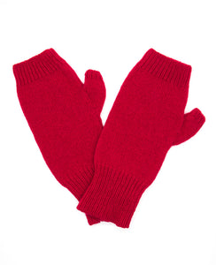 100% Cashmere Fingerless Gloves - Lipstick Red