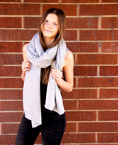 100% Machine Washable Merino Essential Wrap - Heather Gray