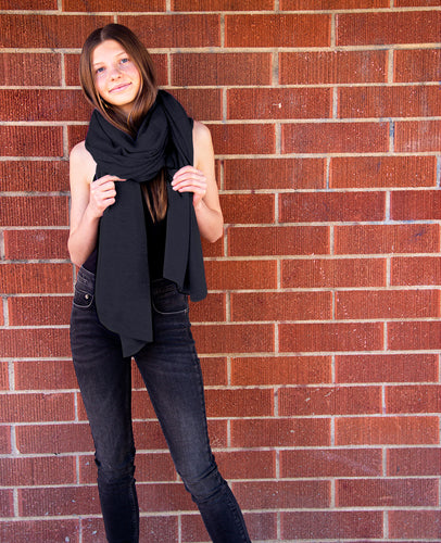 PREORDER 100% Machine Washable Merino Essential Wrap - Heather Charcoal