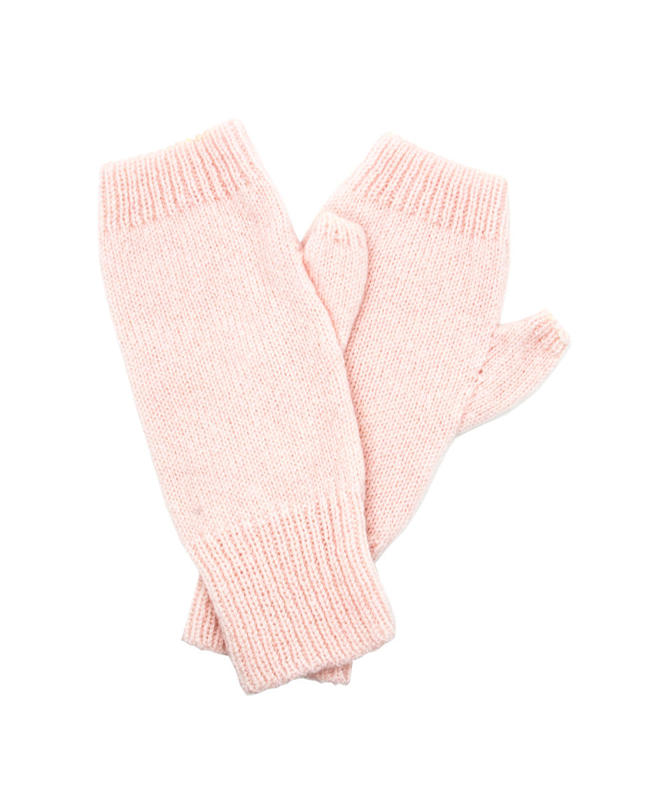 100% Cashmere Fingerless Gloves - Powder Pink