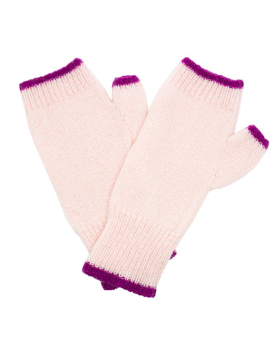 100% Cashmere Fingerless Gloves - Powder Pink Tipped