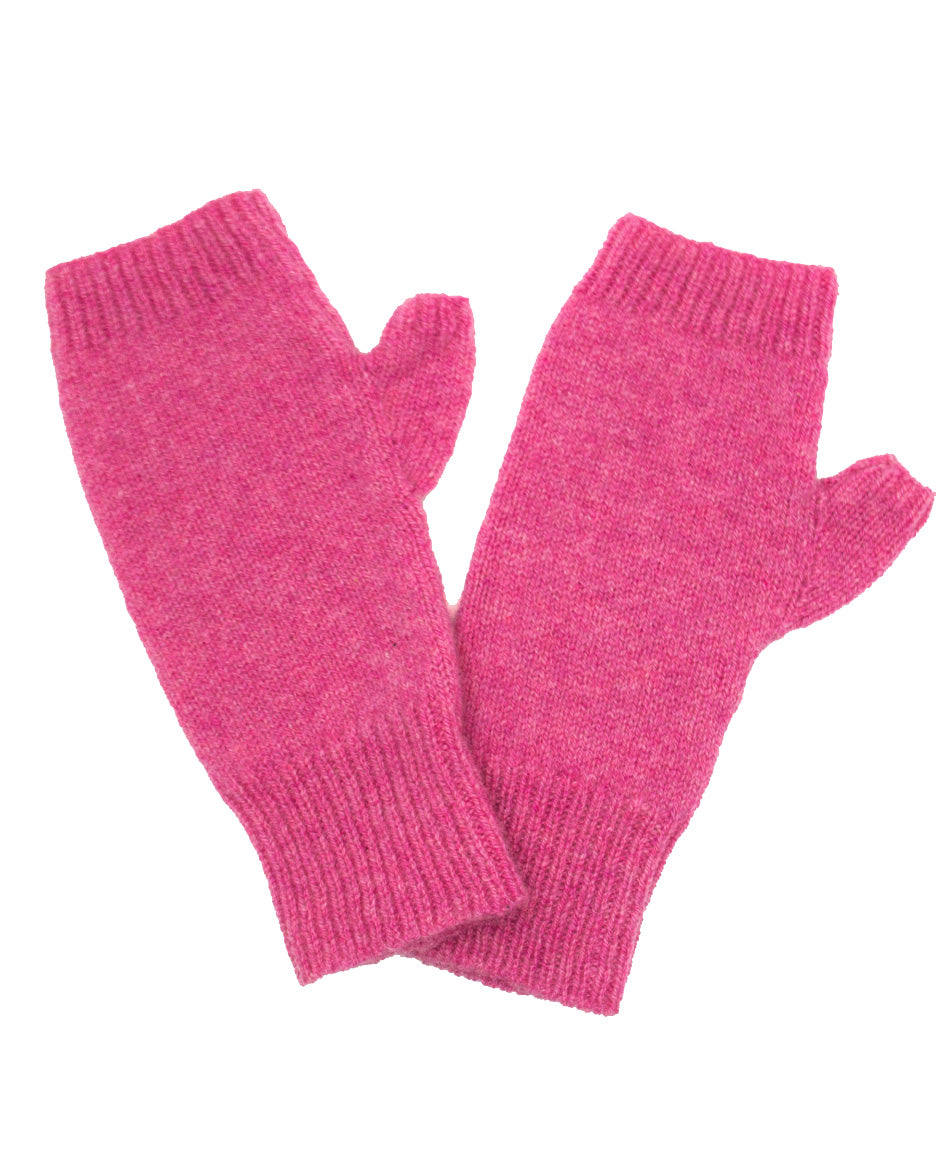 100% Cashmere Fingerless Gloves - Punch