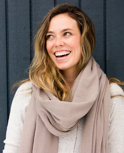 100% Machine Washable Merino Essential Wrap - Taupe