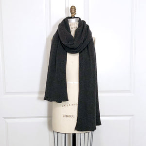 100% Cashmere Essential Wrap - Charcoal Heather - SOLD