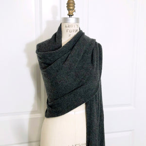 100% Cashmere Travel Wrap - Charcoal Heather