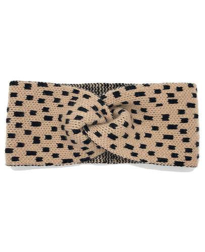 100% Cashmere Knotted Headband - Camel Variegated Dot