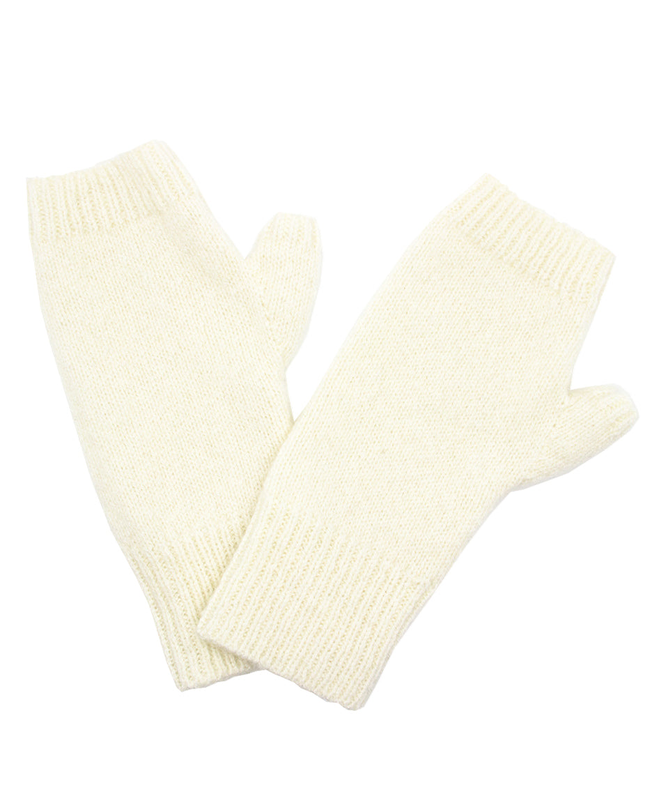 100% Cashmere Fingerless Gloves - Winter White