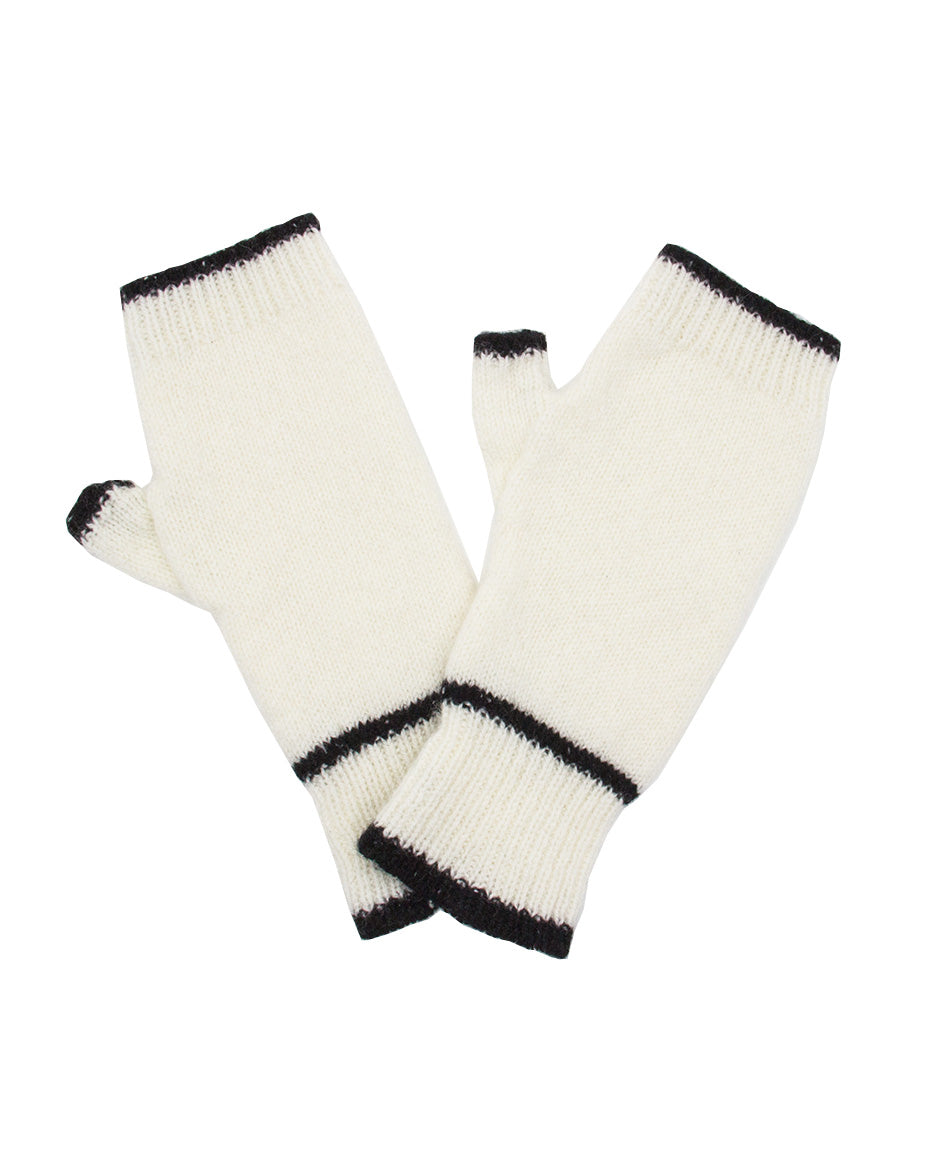 100% Cashmere Fingerless Gloves - Winter White Tipped