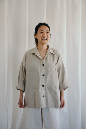 antique linen overshirt jacket