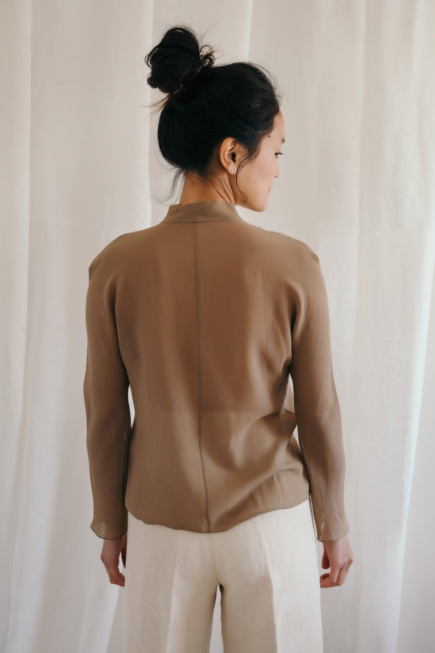 Claudio Mocha Silk Blouse