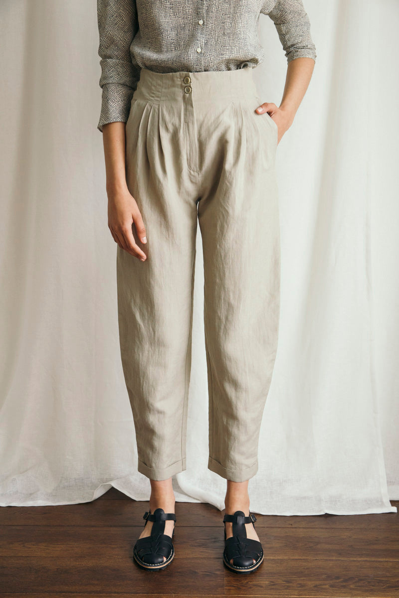 Stone High Waisted Grey Pants