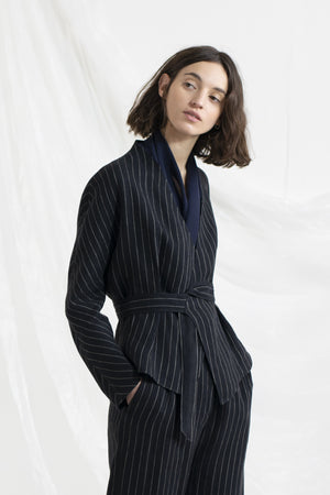 Kat Striped Linen Jacket