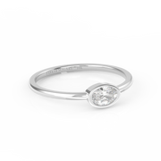 Bezel-Set Oval Diamond Stacking Ring