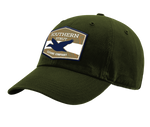 "A forest Southern Strut original hat with a hexagon patch with a top and bottom brown strip and a white one separating it. At the top ""Southern Sturt,"" underneath that a silhouette of a duck."