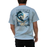 Printed on a Comfort Color chambray colored t-shirt the mahi mahi keeps it simple in the ocean with a blue theme throughout the design with hints of green, yellow, and red.