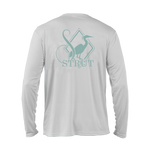 Southern Strut's very own performance garment. White long sleeve with a left chest, back, and sleeve print. They are all baby blue. This quick wicking sun protecting shirt, perfect to be outside in.