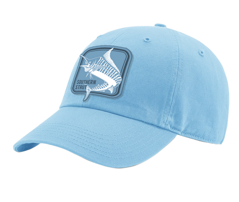 A columbia blue Southern Strut original hat it has a square marlin embroidered patch.