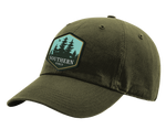 "A forrest Southern Strut original hat with a hexagon patch with a pine forrest design and at the bottom ""Southern Sturt"""