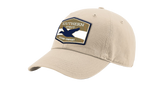 "A khaki Southern Strut original hat with a hexagon patch with a top and bottom brown strip and a white one separating it. At the top ""Southern Sturt,"" underneath that a silhouette of a duck."