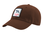 "A brown Southern Strut original hat with a square patch with a pointer silhouette in the middle and ""Southern Strut"" below"