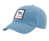 "A columbia blue Southern Strut original hat with a square patch with a pointer silhouette in the middle and ""Southern Strut"" below"