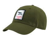 "A forest Southern Strut original hat with a square patch with a pointer silhouette in the middle and ""Southern Strut"" below"