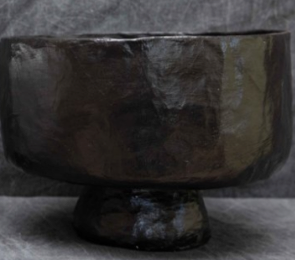 PAPER MACHE BIG BLACK BOWL