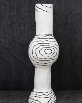 WHITE VASE BALL WITH BLACK LINES
